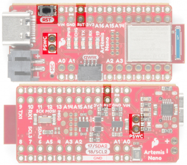 SparkFun Artemis reset and power switch