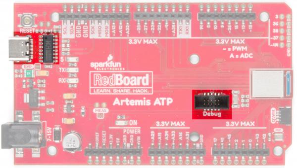 RedBoard Artemis ATP USB C and JTAG ports