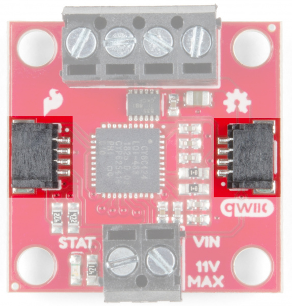 Qwiic connectors on either side of the board