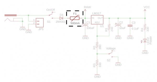 PTC Fuse Before Voltage Regulator