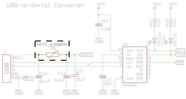 PTC fuse Before Microcontroller