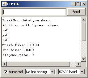 Screen capture of the console doing a byte oriented add