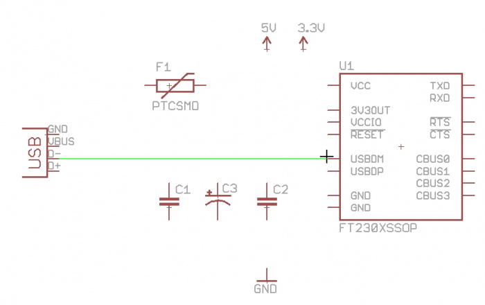 Connecting D pin to USBDM pin
