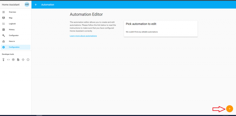 Add automation with arrow pointing to add new automation